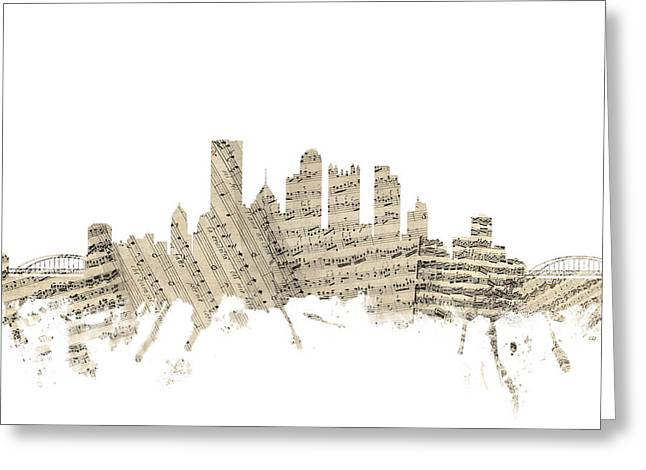 Pittsburgh Greeting Cards - Pittsburgh Pennsylvania Skyline Sheet Music Cityscape Greeting Card by Michael Tompsett