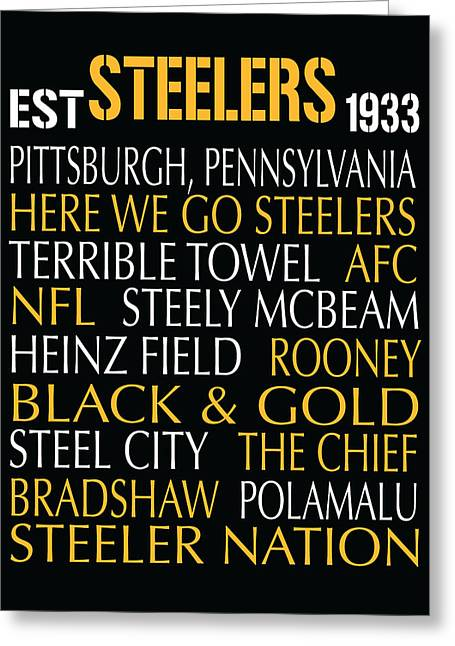 Football Words Greeting Cards - Pittsburgh Steelers Greeting Card by Jaime Friedman