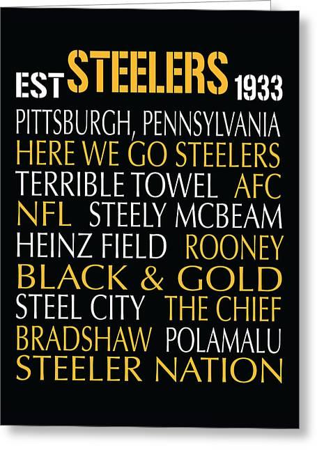 Pittsburgh Steelers Greeting Card by Jaime Friedman