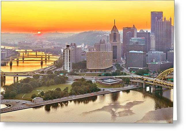 Duquesne Incline Greeting Cards - Pittsburgh Sunrise Panorama Greeting Card by Adam Jewell