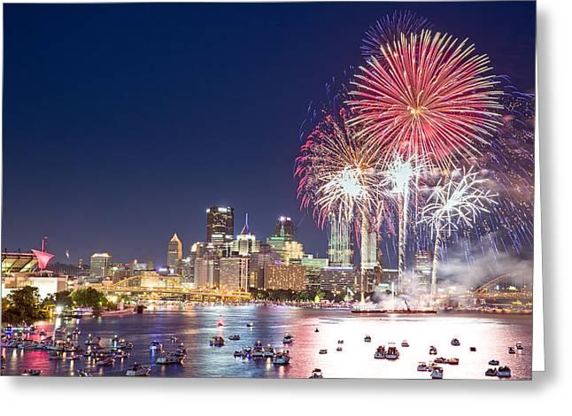 Pittsburgh Skyline.fireworks Greeting Cards - Pittsburgh the 4th  Greeting Card by Emmanuel Panagiotakis