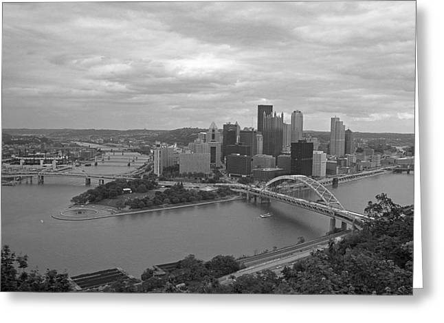 Confluence Greeting Cards - Pittsburgh - View of the Three Rivers Greeting Card by Frank Romeo