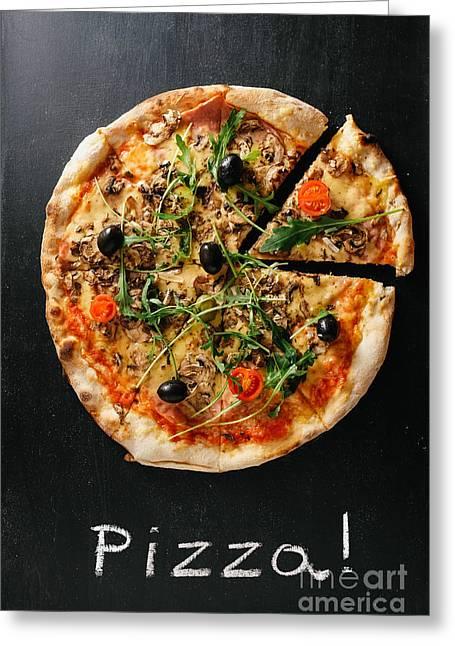 Pizza Greeting Card by Viktor Pravdica