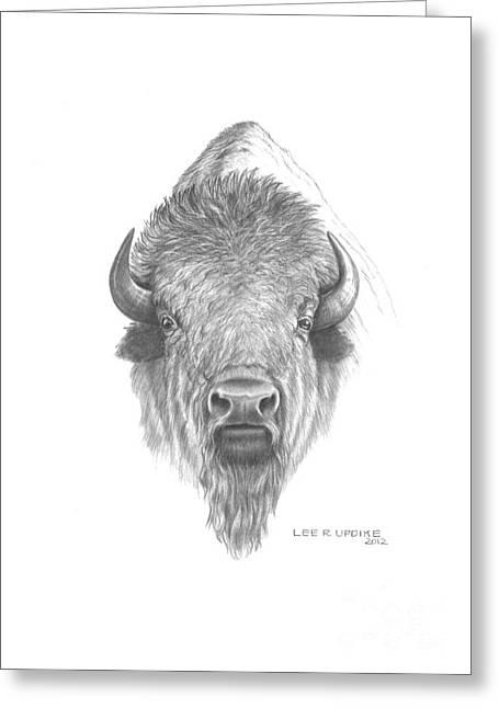 Buffalo Mixed Media Greeting Cards - Plains Buffalo Greeting Card by Lee Updike