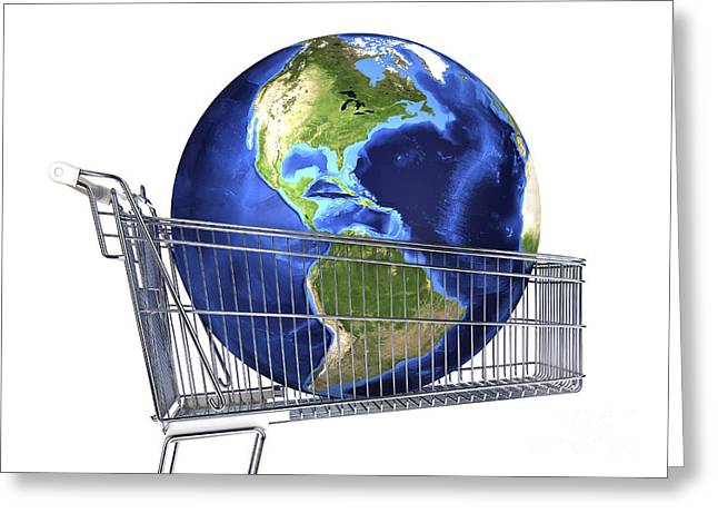 Shopping Cart Greeting Cards - Planet Earth Inside Supermarket Trolley Greeting Card by Leonello Calvetti