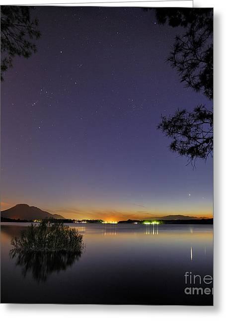 Pleiades Greeting Cards - Planetary conjunction reflections at the lake Mercury and Venus Greeting Card by Guido Montanes Castillo