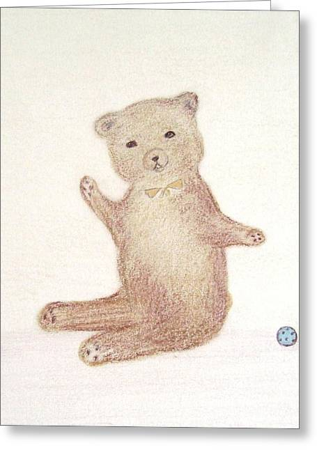 Child Toy Pastels Greeting Cards - Playful Bear Greeting Card by Christine Corretti