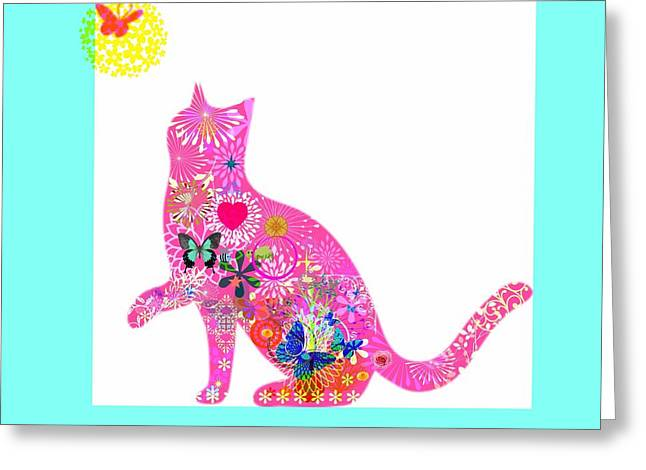 Owner Digital Greeting Cards - Playful Cat Greeting Card by Janpen Sherwood
