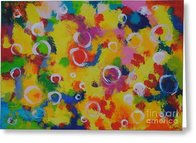 People Paintings Greeting Cards - Playing with soap Greeting Card by Chani Demuijlder
