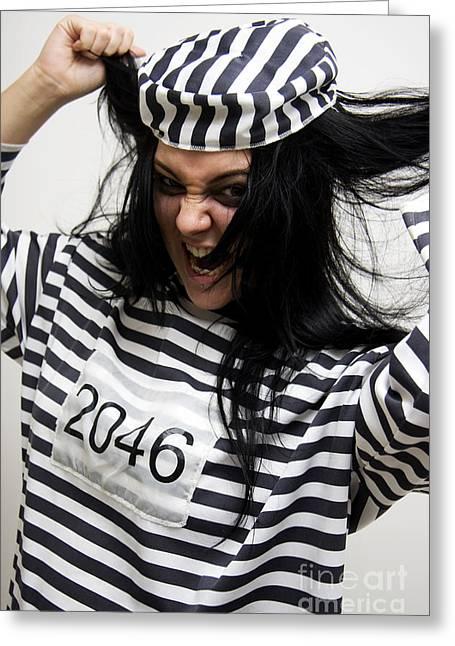 Prison Stripes Greeting Cards - Pleading Insanity Greeting Card by Ryan Jorgensen