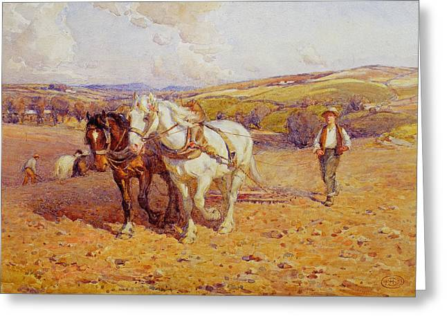 Toiling Greeting Cards - Ploughing Greeting Card by Joseph Harold Swanwick