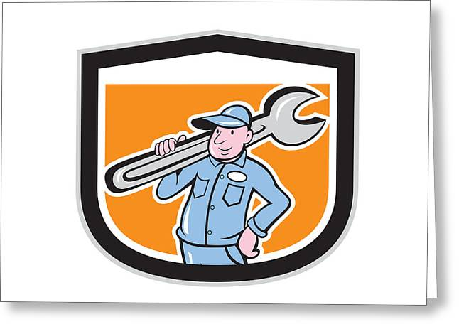 Plumber Greeting Cards - Plumber Holding Wrench Shield Cartoon Greeting Card by Aloysius Patrimonio