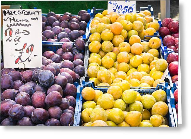 Local Food Greeting Cards - Plums Greeting Card by Tom Gowanlock