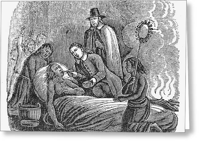 Wampanoag Greeting Cards - Plymouth: Massasoit, 1623 Greeting Card by Granger
