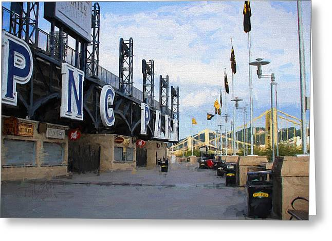 Pnc Park Digital Art Greeting Cards - PNC Park Riverwalk Painting Look Greeting Card by Stephen Falavolito