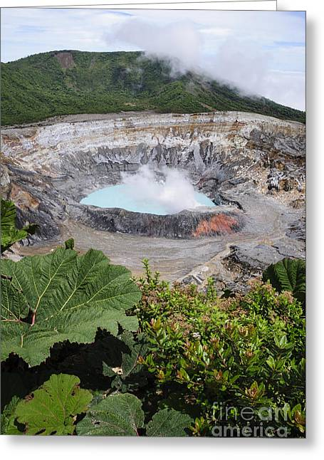 Costa Rica Greeting Cards - Poas Volcano Crater Greeting Card by Oscar Gutierrez