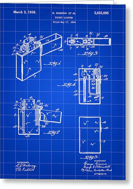 Lighter Greeting Cards - Pocket Lighter Patent 1934 - Blue Greeting Card by Stephen Younts