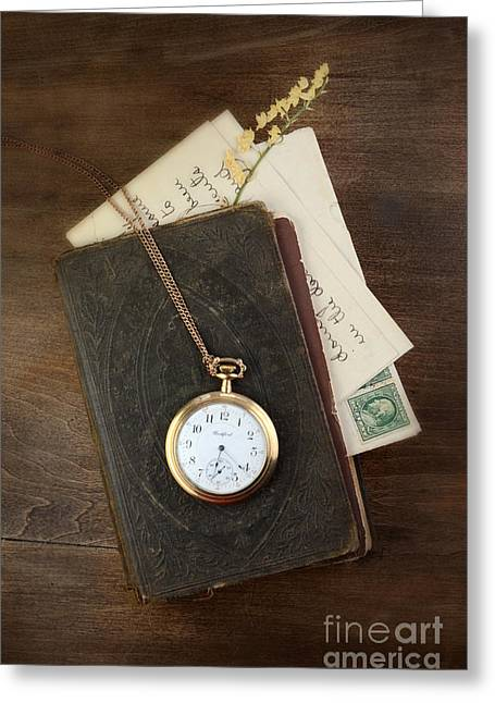 Remembering The Life Greeting Cards - Pocketwatch on Old Book Greeting Card by Jill Battaglia