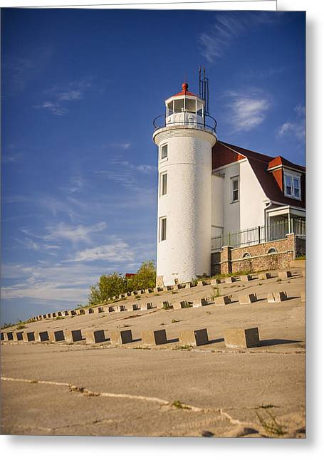 Boys Room Greeting Cards - Point Betsie Lighthouse Michigan Greeting Card by Adam Romanowicz