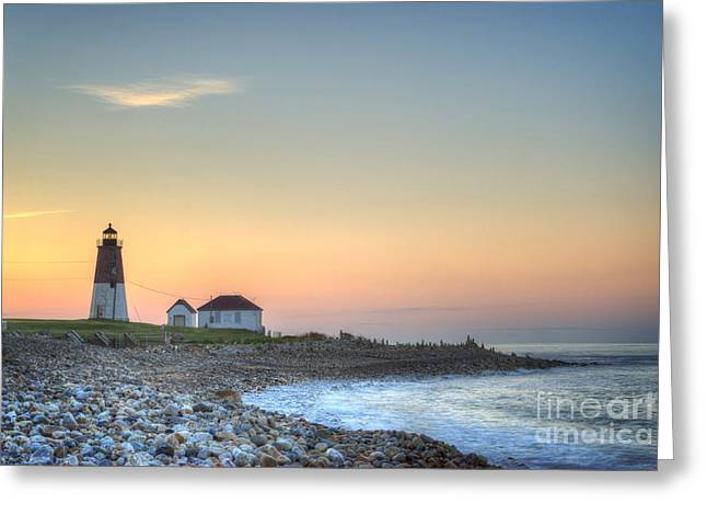 Historic Places Greeting Cards - Point Judith Lighthouse Greeting Card by Juli Scalzi