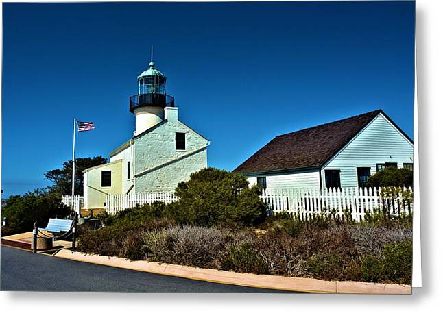 White Pickett Fences Greeting Cards - Point Loma Light House Greeting Card by Richard Jenkins