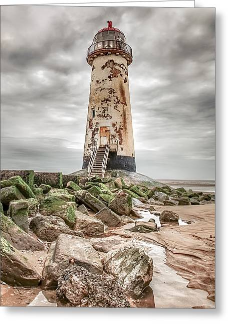 Puddle Paint Greeting Cards - Point of Ayr Lighthouse Greeting Card by Christine Smart