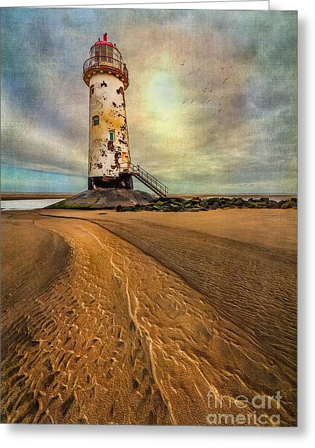 Stepping Stones Greeting Cards - Point of Ayre Lighthouse Greeting Card by Adrian Evans