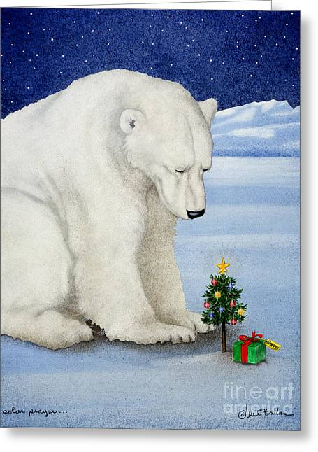 Polar Bears Greeting Cards - Polar prayer... Greeting Card by Will Bullas