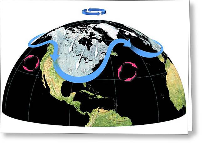 Polar Vortex And Jet Stream Greeting Card by Gary Hincks