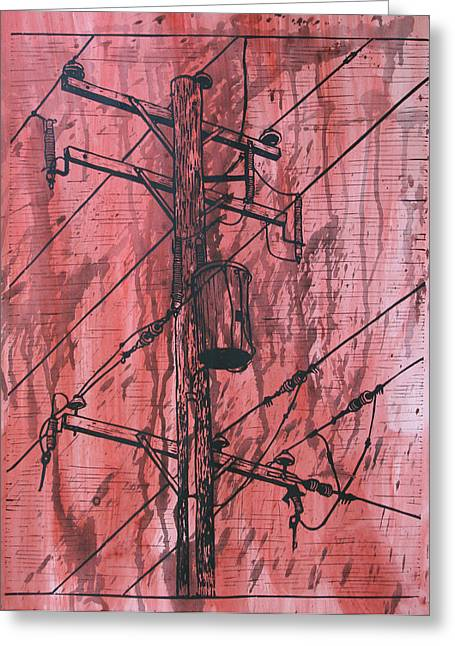 Lino Drawings Greeting Cards - Pole with Transformer Greeting Card by William Cauthern