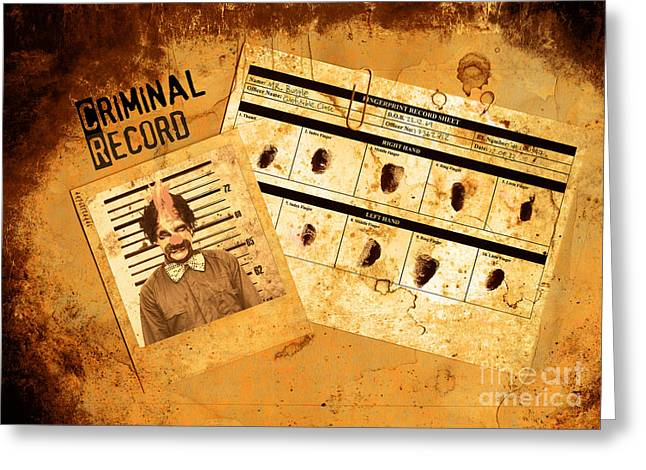 Record Breaker Greeting Cards - Police Criminal Record File Greeting Card by Ryan Jorgensen