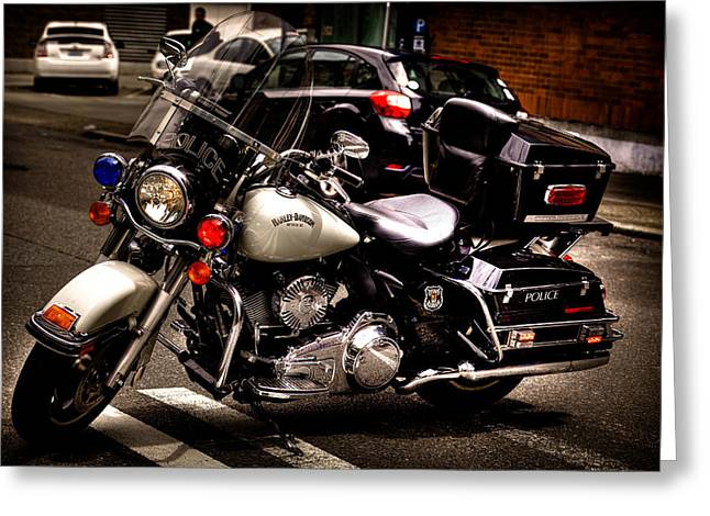 Handle Bar Greeting Cards - Police Harley Greeting Card by David Patterson