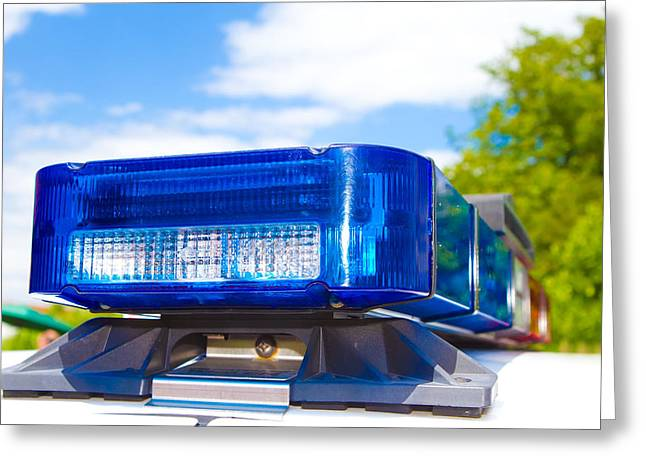 Police Cruiser Greeting Cards - Police Lights Greeting Card by Fizzy Image