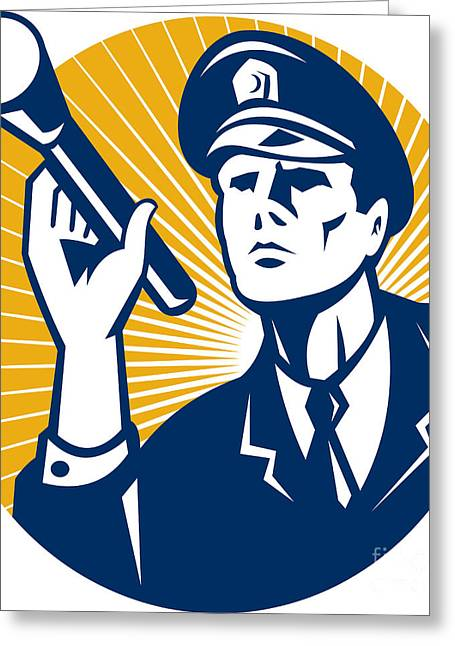 Police Officer Greeting Cards - Policeman Security Guard With Flashlight Retro Greeting Card by Aloysius Patrimonio
