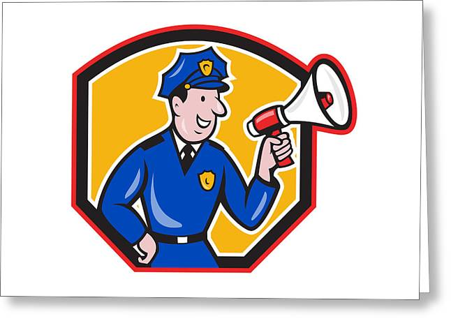 Police Cartoon Greeting Cards - Policeman Shouting Bullhorn Shield Cartoon Greeting Card by Aloysius Patrimonio