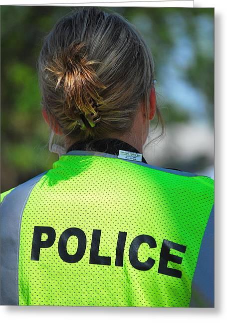 Policewoman Greeting Cards - Policewoman. Greeting Card by Oscar Williams