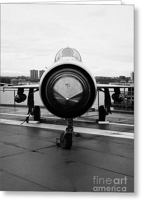 Polish Air Force Mig 21 Pfm On Display On The Flight Deck At The Intrepid Sea Air Space Museum Greeting Card by Joe Fox