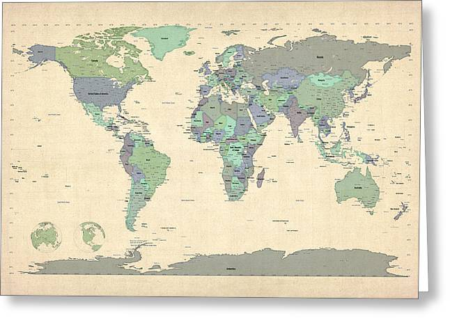 Cartography Digital Greeting Cards - Political Map of the World Map Greeting Card by Michael Tompsett