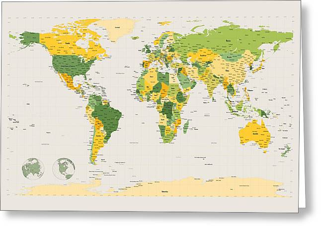 Cartography Digital Greeting Cards - Political Map of the World Greeting Card by Michael Tompsett