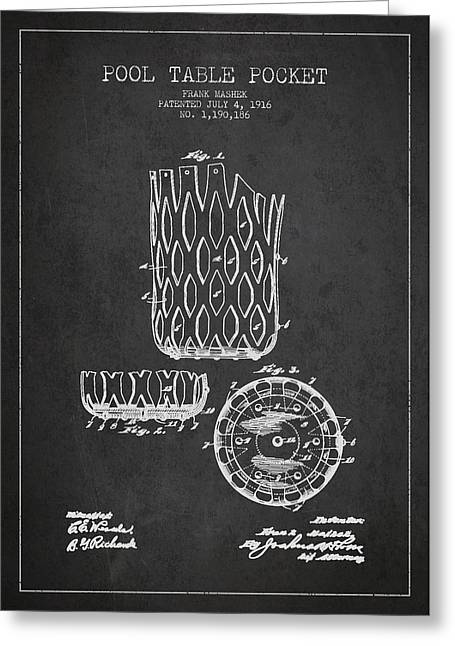 Billiard Digital Art Greeting Cards - Poll Table Pocket Patent Drawing From 1916 Greeting Card by Aged Pixel