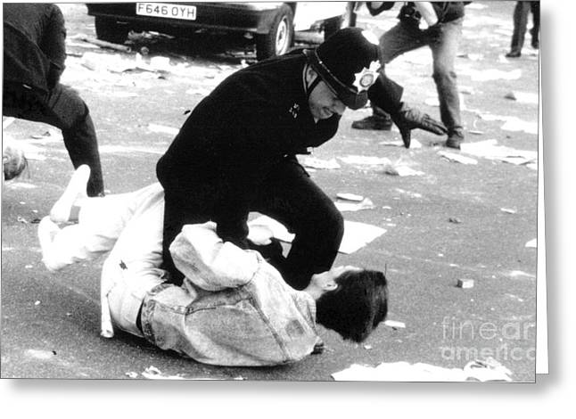 Recently Sold -  - Police Officer Greeting Cards - Poll Tax Riots London Greeting Card by David Fowler