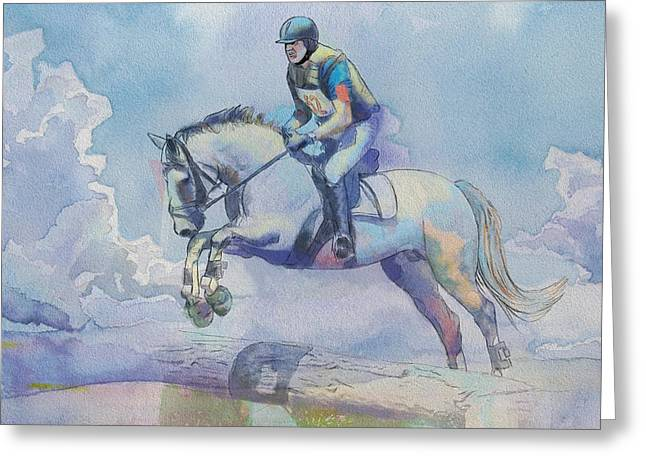 Goalie Paintings Greeting Cards - Polo Art Greeting Card by Catf
