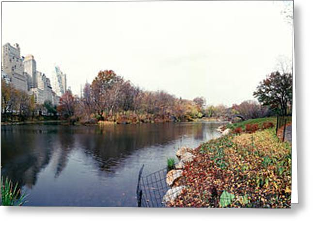 Pond Photography Greeting Cards - Pond In A Park, Central Park Greeting Card by Panoramic Images