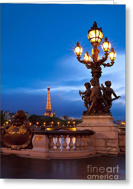 Night Lamp Greeting Cards - Pont Alexandre III Greeting Card by Brian Jannsen