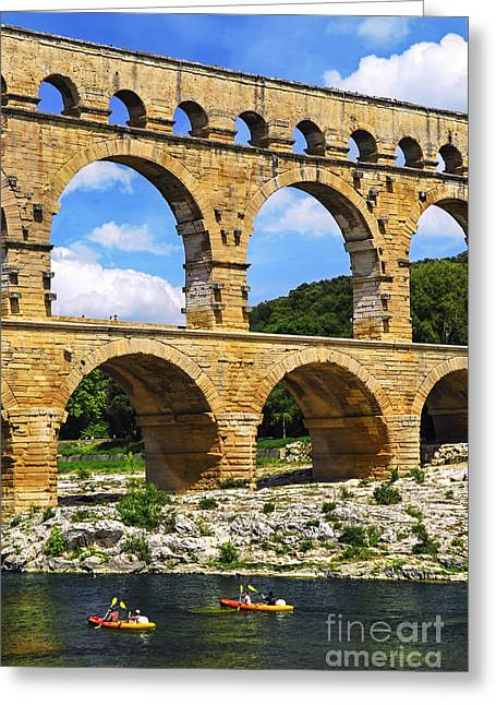 Architectural Landmarks Greeting Cards - Pont du Gard in southern France Greeting Card by Elena Elisseeva