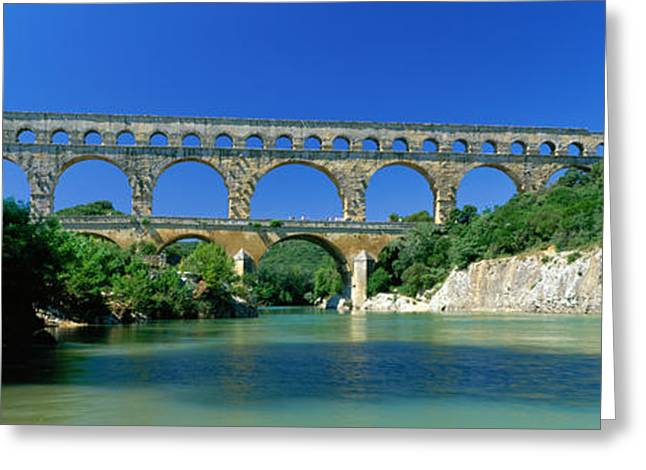 Strength Photographs Greeting Cards - Pont Du Gard Roman Aqueduct Provence Greeting Card by Panoramic Images