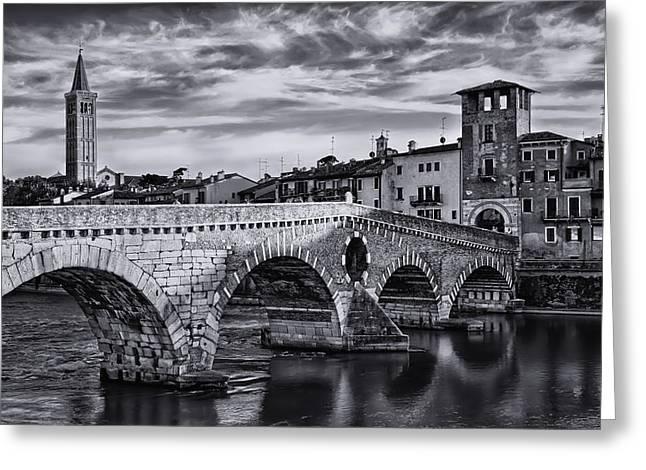 River View Greeting Cards - Ponte Pietra Verona Greeting Card by Carol Japp