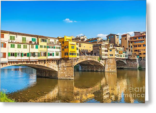 Tuscan Sunset Greeting Cards - Ponte Vecchio in Florence Greeting Card by JR Photography