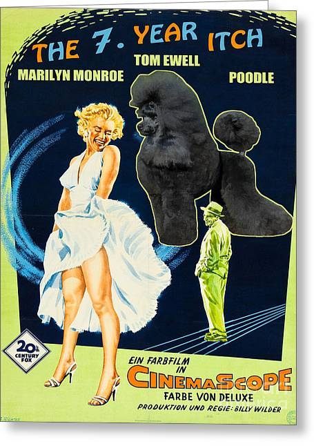 Dog Prints Greeting Cards - Poodle Art - The Seven Year Itch Movie Poster Greeting Card by Sandra Sij