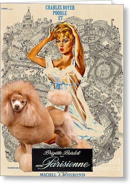 Dog Prints Greeting Cards - Poodle Art - Una Parigina Movie Poster Greeting Card by Sandra Sij